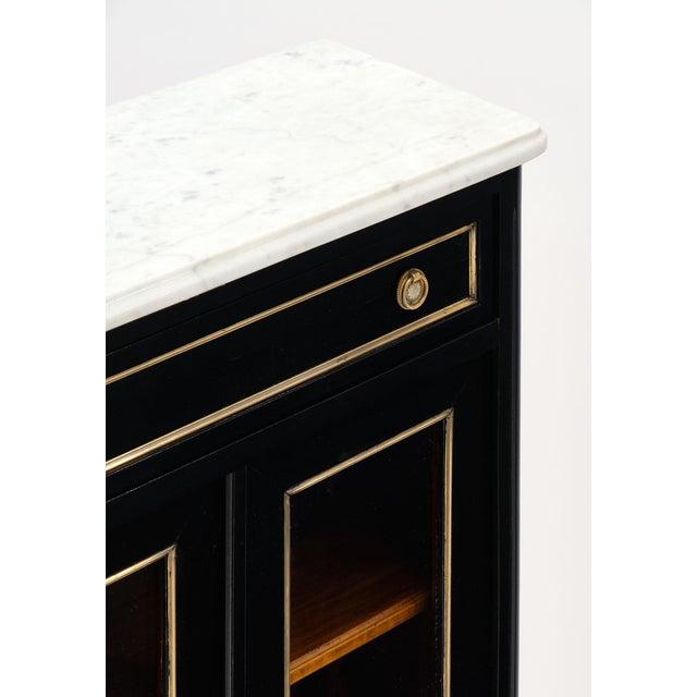 Petite Louis XVI Style Ebonized Mahogany Bookcase For Sale - Image 4 of 10