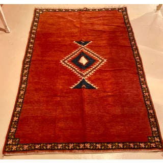 Berber Rug - Tribal Handwoven Wool With Diamond on Red Background Preview