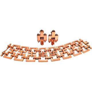 1950's Vintage Matisse Modernist Copper Geometric Chain Link Bracelet & Earrings - Set of 3 For Sale