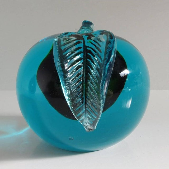 Blue Pair of Italian Murano Apple and Pear Glass Book Ends For Sale - Image 8 of 9