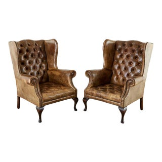 19th Century Pair of English Cigar Leather Wingback Library Chairs For Sale