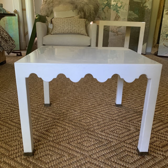 2000 - 2009 White Lacquered Grass Cloth Moroccan Style Side Tables- a Pair For Sale - Image 5 of 12