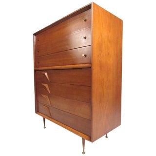 Impressive Vintage Modern Walnut Highboy Dresser For Sale