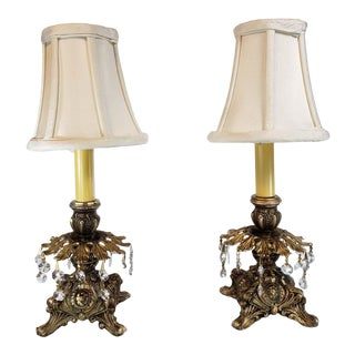 French Baroque Style Converted Candle Holder Lamps - a Pair For Sale