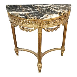 Late 20th Century Neoclassical French Gilt Marble Top Demi Lune Table For Sale