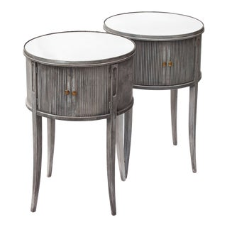 Round Mirrored Drum Tables - a Pair For Sale