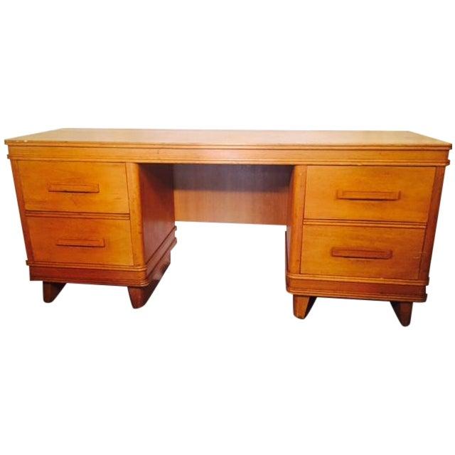 Art Deco Solid Light Oak Desk - Image 1 of 6