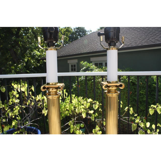 Neoclassical Brass Columnar Candlestick Table Lamps- A Pair - Image 11 of 11