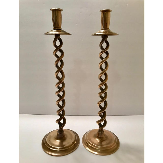 Pair of Elegant Victorian Tall Candle Holders in Braided Brass Metal For Sale - Image 11 of 12
