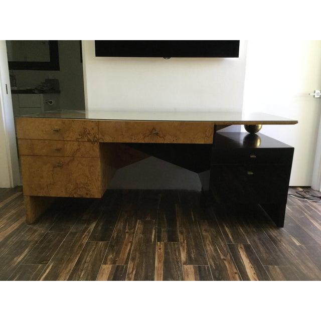 Italian Burl Wood Desk For Sale - Image 11 of 11