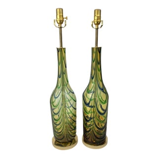 Italian Amber Glass Drape Pattern Lamps - a Pair For Sale
