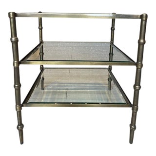 Brass Side Table With Glass Inserts For Sale