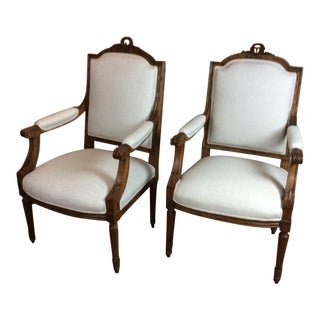 Antique French Arm Chairs Carved Walnut and Beautiful - a Pair For Sale