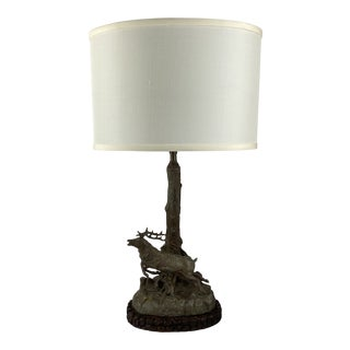 English Metal Lamp With Stag For Sale