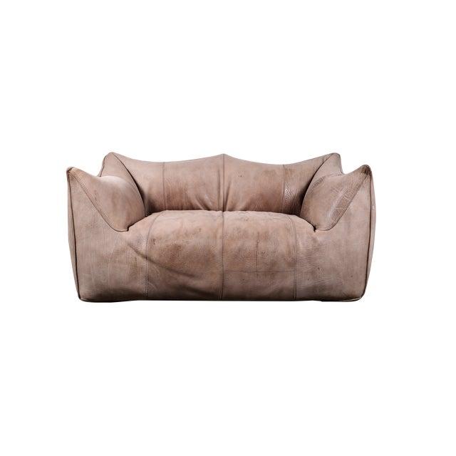 1970s Original Buffalo Leather Bambole Loveseat Sofa by Mario Bellini for B&b Italia For Sale