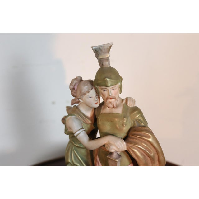 Figurative 20th Century Porcelain Sculpture Group Neoclassical Couple in Love by Royal Dux For Sale - Image 3 of 10