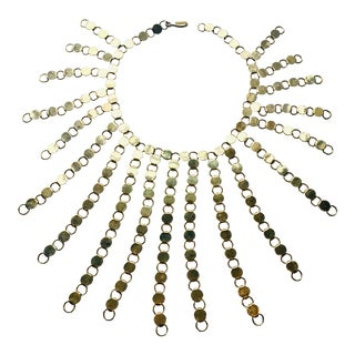 Modernist Gold Sunburst Necklace For Sale