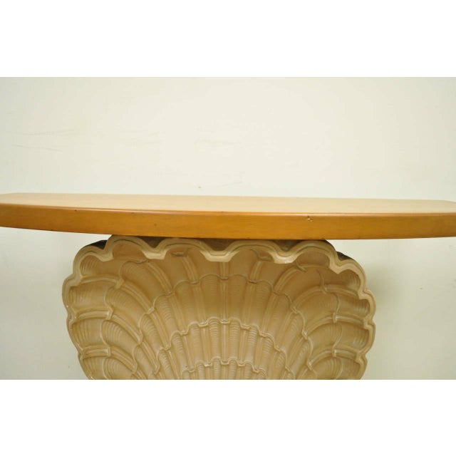 1940s Hollywood Regency Plaster Shell Form Console Hall Table For Sale - Image 4 of 11