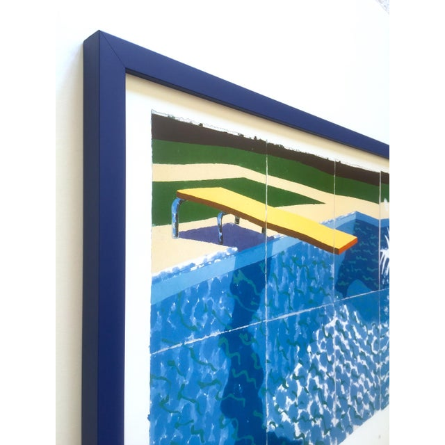 """David Hockney Rare Vintage 1994 Iconic Lithograph Print Large Framed Poster """" Le Plongeur ( Paper Pool 18 ) """" 1978 For Sale In Kansas City - Image 6 of 13"""