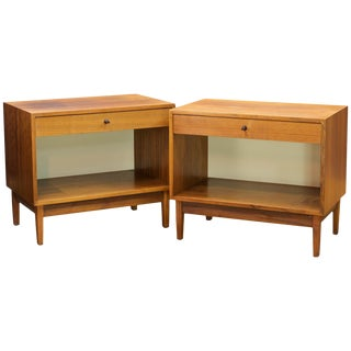 1960s Kipp Stewart Calvin Walnut Night Stand Tables Pair Vintage Mid-Century MCM For Sale