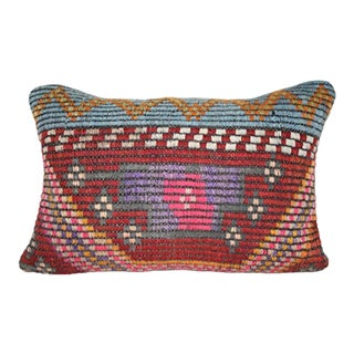Vintage Ethnic Turkish Kilim Pillow Cover, Lumbar Tribal Pillow Cover 14'' X 20'' (35 X 50 Cm) For Sale