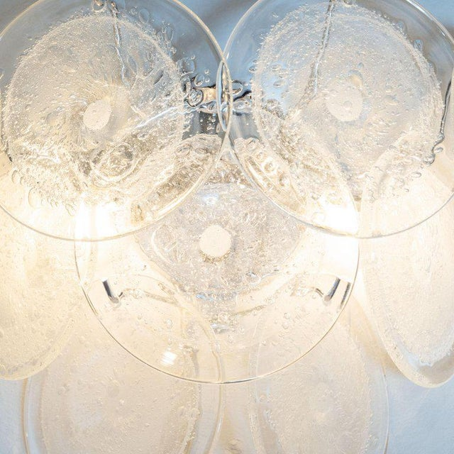 Contemporary Modernist 9-Disc Hand Blown Murano Clear and Translucent Glass Sconces - a Pair For Sale - Image 3 of 5