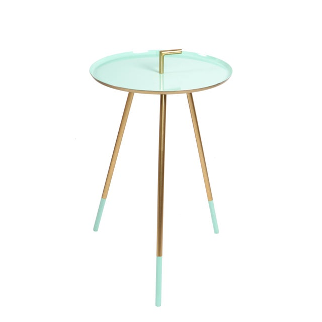 Mid-Century Modern Round Three-Legged Brass & Turquoise Enamel Side Table 1950s For Sale - Image 12 of 13