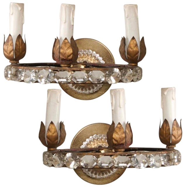 French Three Light Oval Crystal Beads Sconces - Pair For Sale