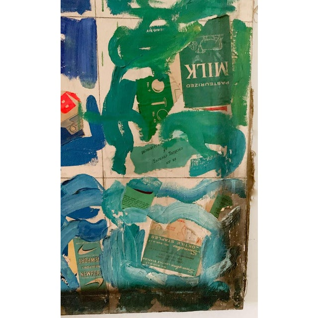 Blue Mid Century Painting, Collage - Labels For Sale - Image 8 of 10