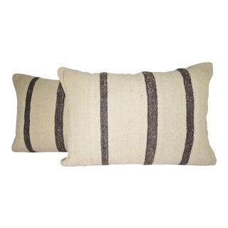 Handwoven Modern Organic Wool Throw Pillow in Black Stripes, Pair Turkish Lumbar Pillow 16'' X 24'' (40 X 60 Cm) For Sale