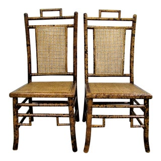 Baker Faux Tortoise Shell Chinoiserie Chairs - a Pair