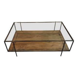 Shadowbox-Style Iron Framing and Aged Mango Wood Coffee Table For Sale