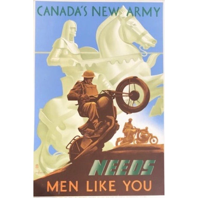 Mid-Century Modern 1940s Canadian Wwii Poster, Canada's New Army Needs Men Like You For Sale - Image 3 of 6