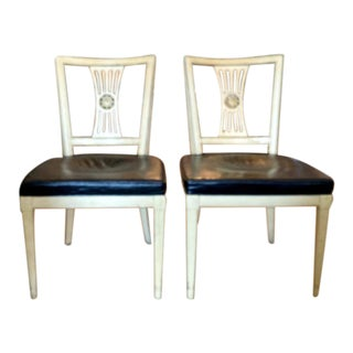 Pair, Mid Century Henredon Chairs With Leather Seats, Signed For Sale