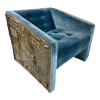 Mid-Century Modern Adrian Pearsall Tufted Blue Brutalist Lounge Chair Evans Era, 1960s For Sale