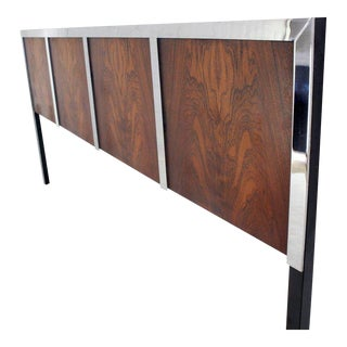 1970s Mid-Century Modern Rosewood and Heavy Chrome King Size Headboard For Sale