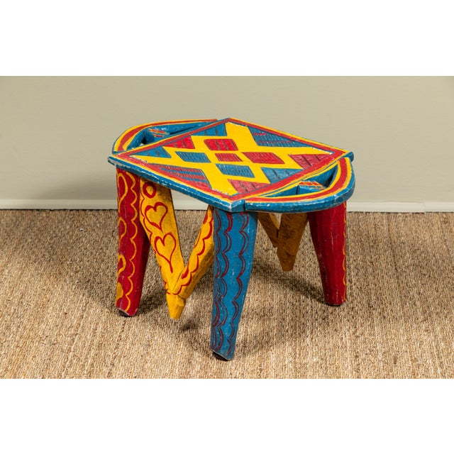 African African Painted Wood Stool For Sale - Image 3 of 7