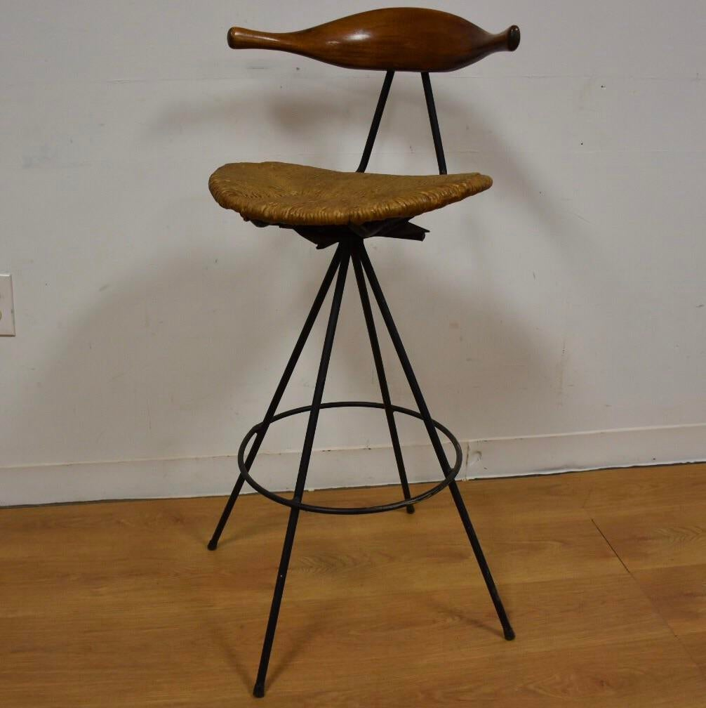 Mid Century Modern Teak Amp Iron Barstool Chairish