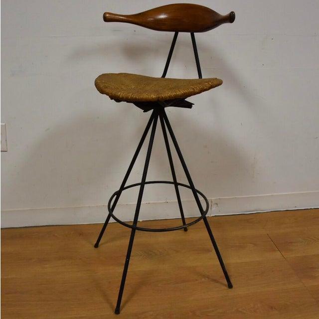 Mid-Century Modern Teak & Iron Barstool - Image 2 of 10