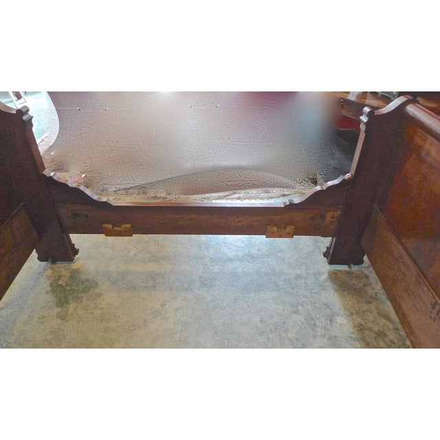 19th Century Country Louis Philippe Burled Walnut Bedframe For Sale - Image 9 of 10