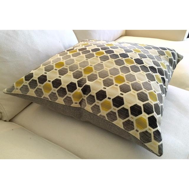 Modern Geometric Chartreuse & Gray Pillow - Image 6 of 7