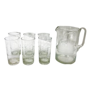 Vintage Etched Ship Glassware Set For Sale