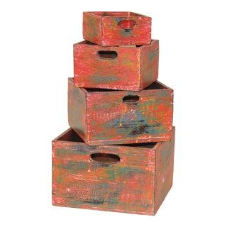 Albizia Wood Nesting Boxes - Set of 4 For Sale