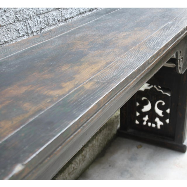 Black Antique Chinese Elm Altar Console Table For Sale - Image 8 of 10