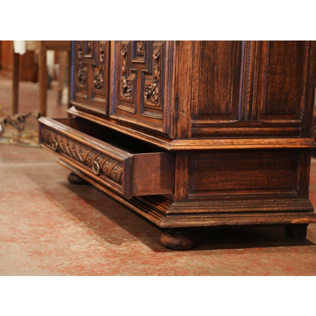 19th Century Italian Carved Walnut Two-Door Buffet Cabinet With Bottom Drawer For Sale - Image 11 of 13