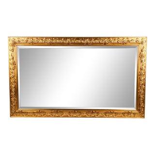 Vintage Italian Gilded Wood Framed Hanging Bevelled Mirror For Sale