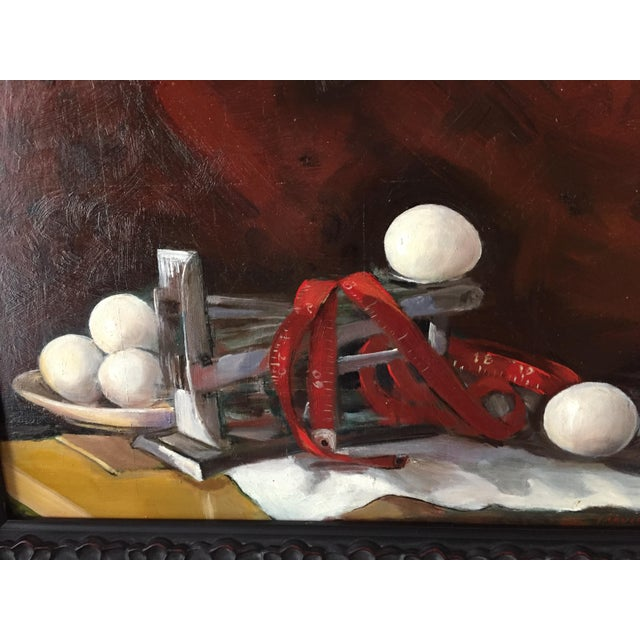 A still life in the Dutch Renaissance style but with 20th century items, Marina combines an antique egg scale, eggs and a...