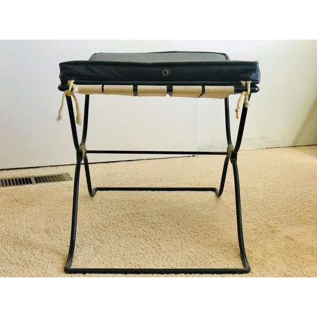 Black Jean Royere Style Iron and Rope Stool 1950's For Sale - Image 8 of 13