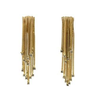 """3"""" Long Hattie Carnegie Rhinestone Gold Waterfall Tassel Dangling Earrings For Sale"""