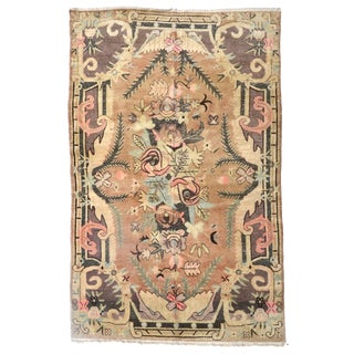 "Beautiful Vintage Khotan Wool Rug 111"" X 72"" For Sale"
